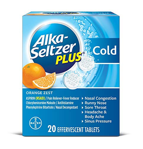 (Alka-Seltzer Plus Cold Medicine, Orange Zest Effervescent Tablets with Pain Reliever/Fever Reducer, Orange Zest, 20)