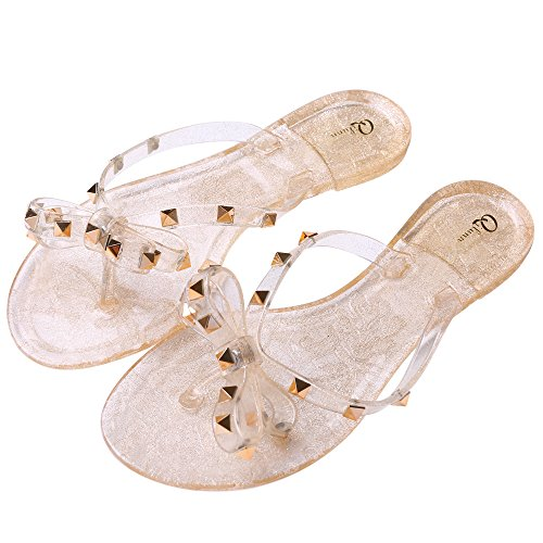 Qilunn Womens Bow Flip Flop Sandals,Jelly Thong Flat Sandals Summer Beach Shoes with Rubber Rivets Bowtie Flip Flops,9 B(M) US/41m EU/25.5cm Glitter Gold]()