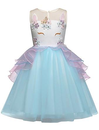 Amazon.com  Mallimoda Girls Unicorn Dress Lace Flower Princess Party  Costume Dress Up  Clothing 2dd7ec8698c4