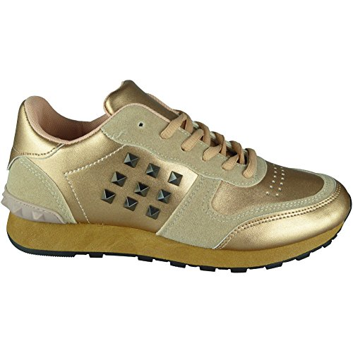 Sports Look Loud Light Champagne Womens 3 Comfy Fitness Gym up Ladies Trainers Size Lace Running Shoes 8 8rd4qrw1