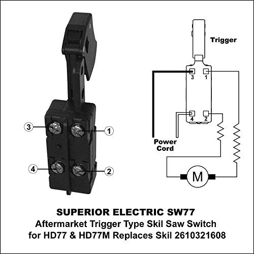 Superior electric sw77 aftermarket 20 amp trigger on off switch superior electric sw77 aftermarket 20 amp trigger on off switch replaces skil 2610321608 ryobi ridgid 760245002 amazon greentooth Gallery