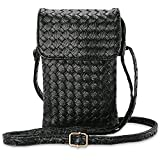 HUANZHAN Women Mini Wallet Crossbody Mobile Phone Bag, Cell Phone Zipper Bag for Apple iPhone 7/7Plus,Samsung Galaxy S7/S7Edge and Other Mobile Phone Under 5.5 Inch (Black)