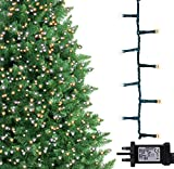 Christmas Tree Lights 750 LED 18.75m WarmWhite and BrightWhite Alternative in/Outdoor Christmas Decorations Fairy String Lights Memory Timer Mains Powered 61ft LitLength 10m LeadWire Green Cable