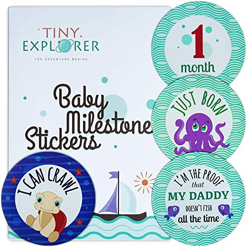 Baby Monthly Milestone Stickers - 24 Premium Stickers, Baby First Year Plus Bonus Achievements, Funny Messages and Family Portrait - The Perfect Baby Boy or Girl Shower Gift