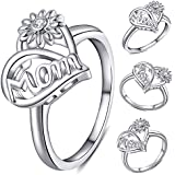 andy cool Premium Quality Women Sunflower Cubic Zirconia Hollow Heart Finger Ring Jewelry Mother Gifts Silver US 8
