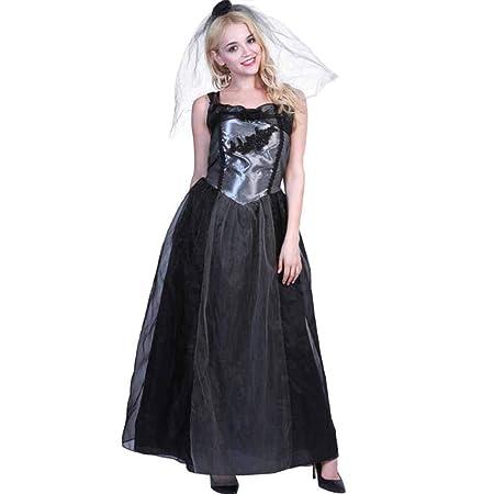 XRQ Ropa Nupcial de Boda Negra de Halloween, Disfraces de Teatro ...