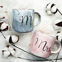 Vilight Mr Mrs Ceramic Coffee Mugs - Gift for Wedding Engagement Bridal Shower and Married Couples Anniversary 2018 - Marble Cups Set 11.5 oz