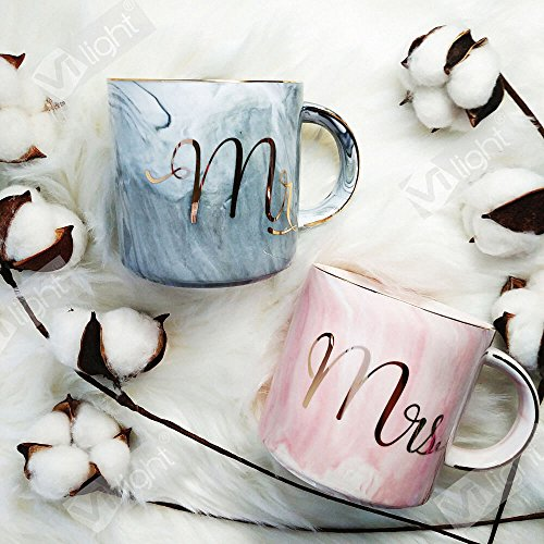 Vilight Mr Mrs Ceramic Coffee Mugs - Gift for Wedding Engagement Bridal Shower and Married Couples Anniversary 2018 - Marble Cups Set 11.5 oz (Wedding Ceramic)