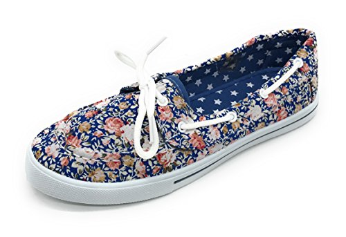 EASY21 Comfy Floral Toe Round Blue Flat Boat Berry Lace up Tennis On Blue Canvas Rose Shoe Slip Sneaker wBCqUf