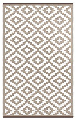 Nirvana Lightweight Indoor/ Outdoor Reversible Plastic Rug -  Taupe / White- 3x5 ft (90 x 150cm) White Indoor Outdoor Rugs