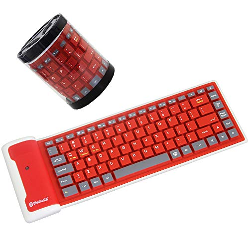 Mini Foldable Silicone Wireless Bluetooth Keyboard, Silent Waterproof Rollup Keyboard, Flexible Portable Computer Keyboard for PC Notebook Laptop(Red)
