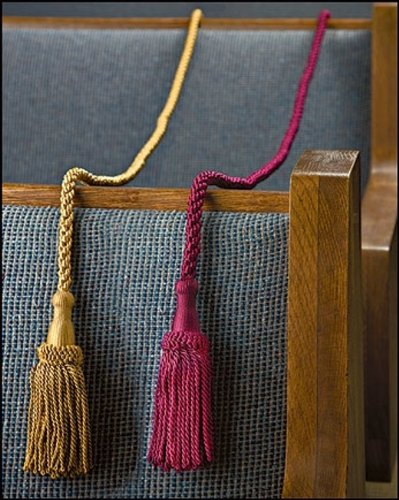 Weighted Pew Reservation Rope 58'' with Heavy Tassle Ends Reserved Church Seating Accessory - Burgundy