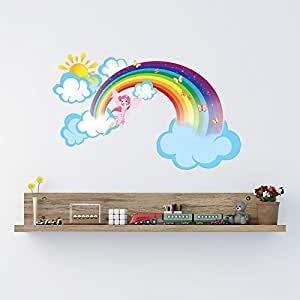 Rainbow Fairy with Clouds and Sun Wall Decal by Style & Apply - Girls Room Wall Decal, Sticker for Girls, Nursery Vinyl Wall Art, Kids Room Decor - DS 875 - 64in x 39in