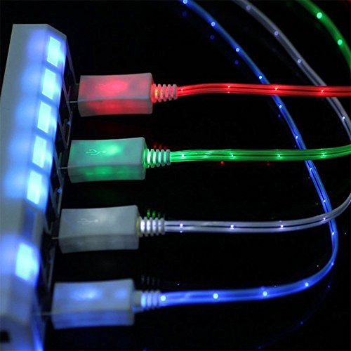 SN-RIGGOR 4 Packs 3.3ft Glowing Micro Usb cable Fast Charge LED Light Up Micro USB cable Micro usb led light cable Night Light for Samsung Galaxy s7 \S6 edge S3 HTC OneLg Blue,Green,Yellow,Red