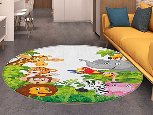 Nursery Non Slip Round Rugs Cartoon Style Zoo Animals Safari Jungle Mascots Collection Tropical Forest Wildlife Oriental Floor and Carpets Multicolor -  also easy