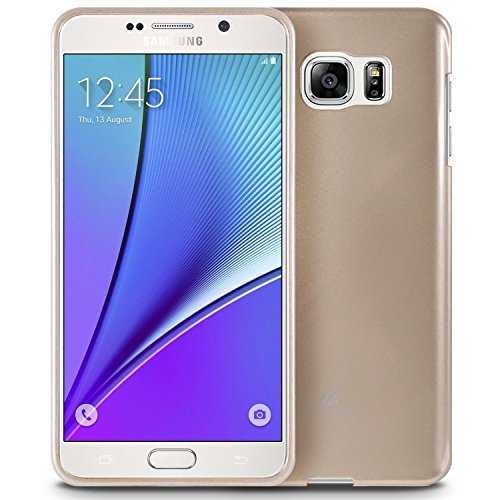 Galaxy Note 5 Case, [Thin Slim] GOOSPERY [Flexible] Pearl Jelly Rubber TPU Case [Lightweight] Bumper Cover [Impact Resistant] for Samsung Galaxy Note 5 (Gold) -
