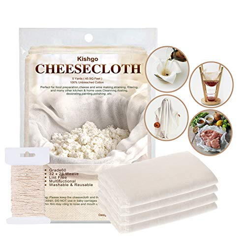 Cheesecloth, Grade 60,45 Sq Feet,100% Unbleached Fabric Cotton with Cooking Twine, Washable and Reusable, Cheese cloth for Cooking-Nut Milk Bag, Strainer, Filter, Decorations