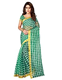 Shonaya Women's Art Silk Woven Work Saree with Unstitched Blouse Piece (Green)