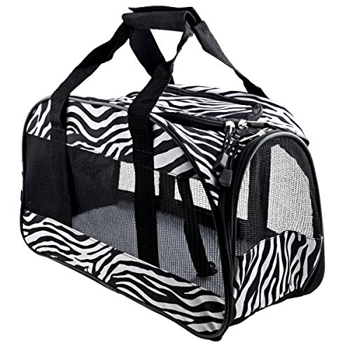 Airline Pet Carrier, Aoleytech Airline Approved Pet Travel Portable Carrier Bag Soft-Sided Pet Travel Carrier Perfect for Small Dogs and Cats - Black&White