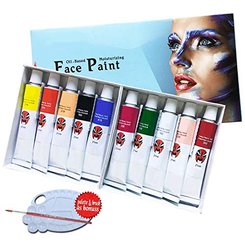 Lasten Face Paint Kit 10 Cols, Oil Based face and Body Painting Set for Kids & Adults -