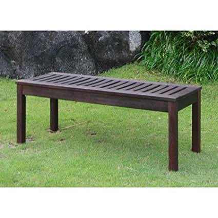 Attirant Delahey Backless Outdoor Garden Bench, Dark Brown, Seats 2