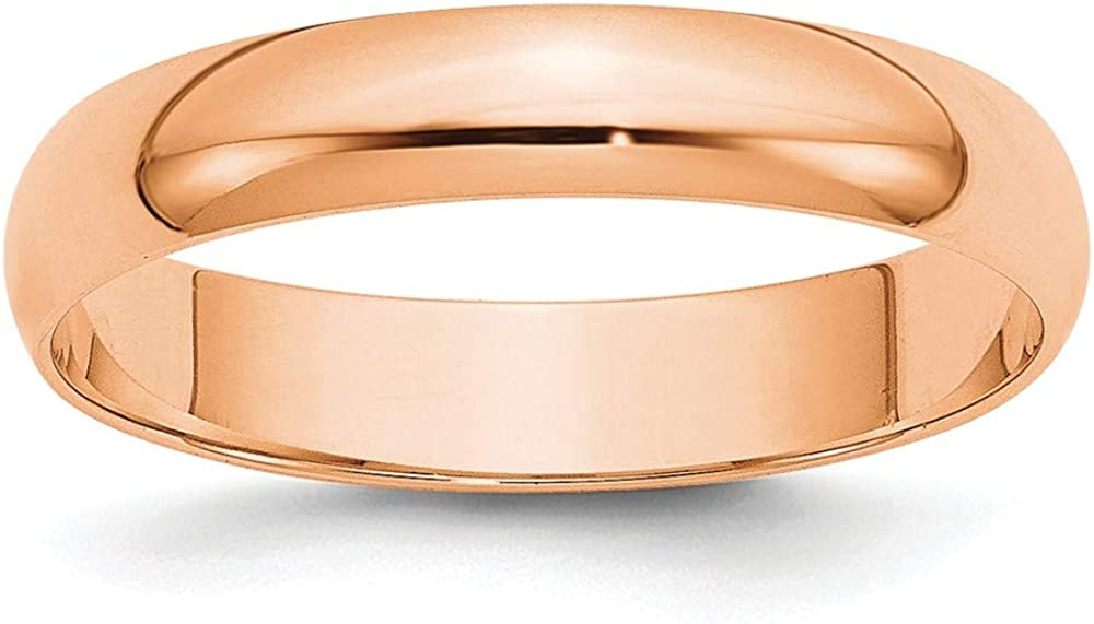 Real 14kt Rose Gold 4mm LTW Half Round Band Size 8.5