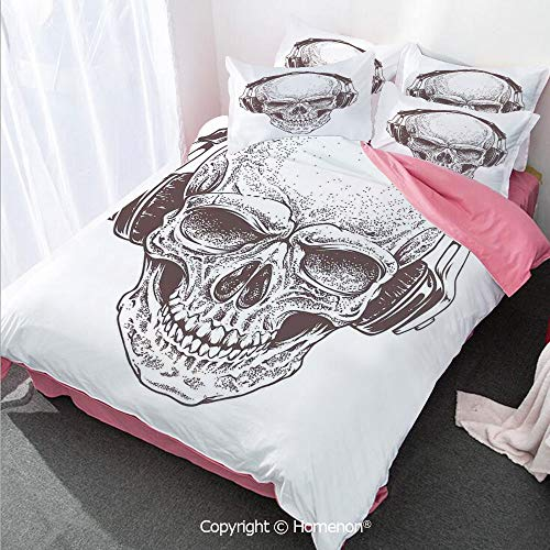 Homenon Skull Girl's Room Cover Set King Size,Digital Dot Work Style Punk Skull with Headphones Hippie DEA,Decorative 3 Piece Bedding Set with 2 Pillow Shams Brown White