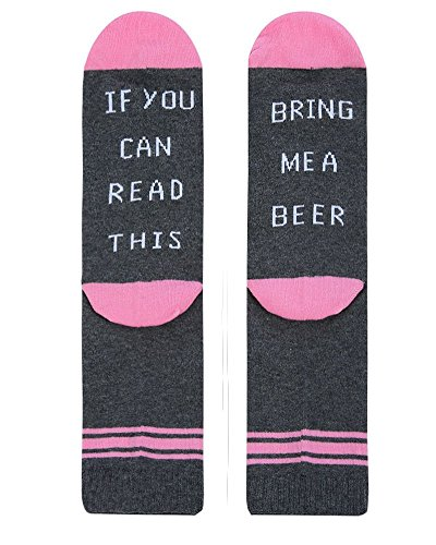 Mafulus Unisex If You Can Read This Socks Bring Me Beer Knit Funny Word Cotton Crew Socks by Mafulus