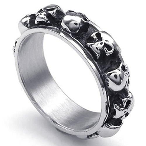 Beydodo Stainless Steel Ring (Punk Bands) Retro Skull Biker Black Silver Width 26mm Size 11 For Men