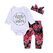 Cute Baby Girls Little Sister Bodysuit Tops Floral Pants Bowknot Headband Outfits Set (70(0-6M), Floral)