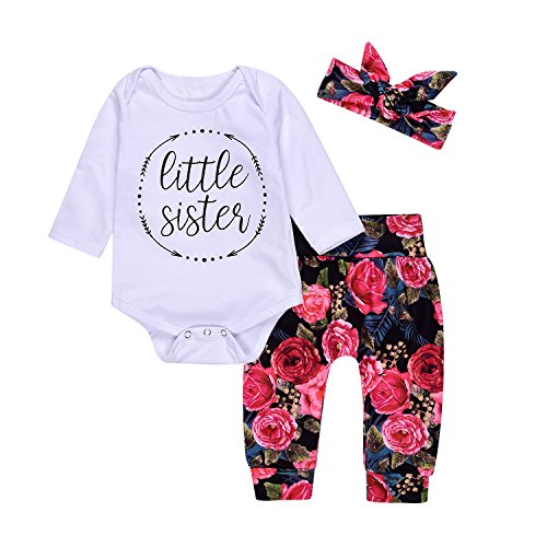 (Cute Baby Girls Little Sister Bodysuit Tops Floral Pants Bowknot Headband Outfits Set (70(0-6M), Floral))