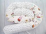 Handmade White Cotton Fabric Bunny Monkey Animals Bed Pillow Baby Crib Bumper, Long Snake Pillow, Nursery Bedding, Nursery Decor