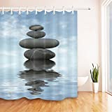 LB Zen Meditation Shower Curtain 72x72 inch Bathroom Curtains Spa Stone Water Reflection Polyester Fabric Mildew Resistant Waterproof Bath Decor Hooks Included