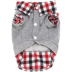 Voberry® Dog Cat Grid Sweater Puppy Warm T-Shirt Pet Clothes POLO Shirt Dog Coat (M, Gray)