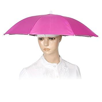 Camping Hands Free de elástico cinta – Paraguas de pesca de sombrero de tapa color fucsia