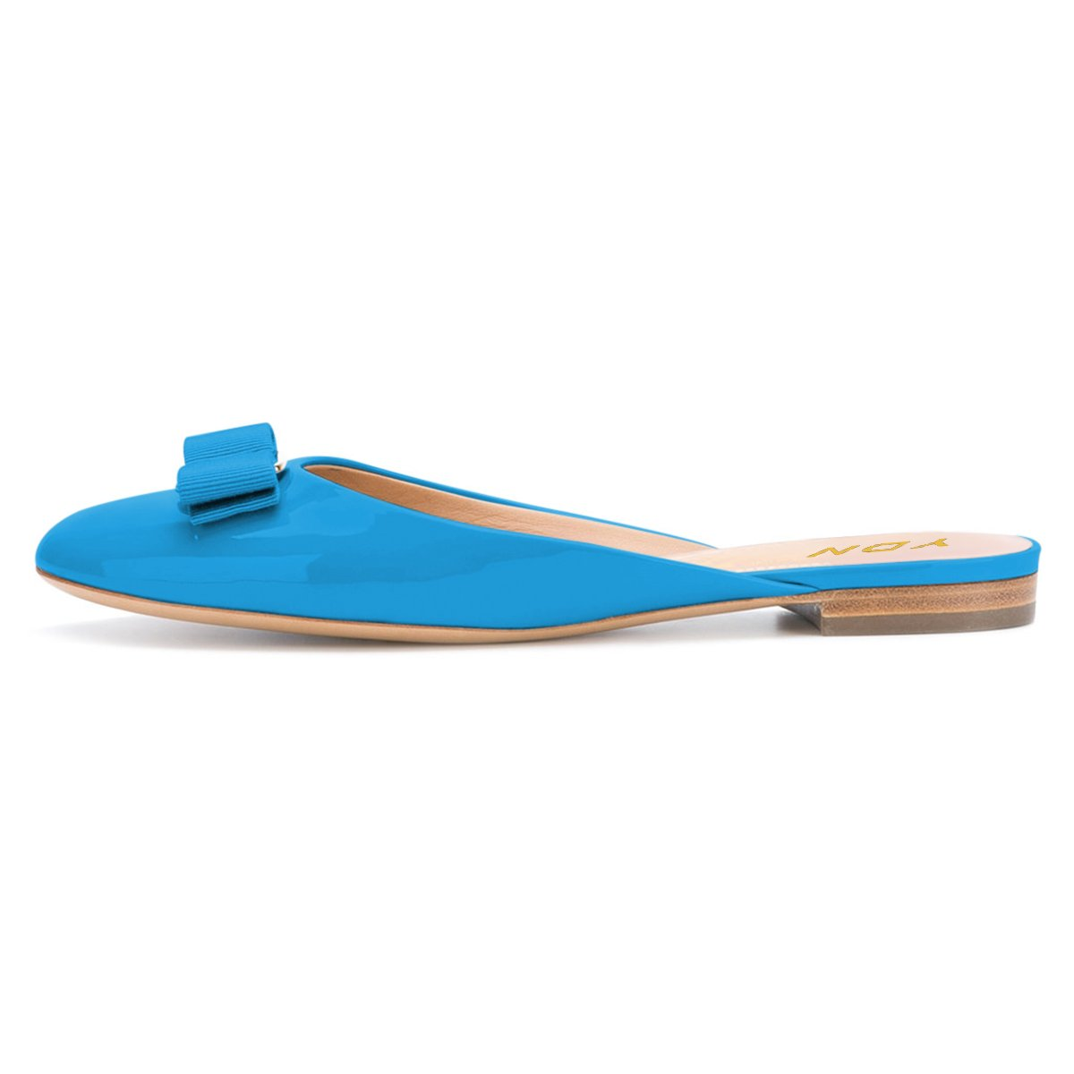YDN Women Round Toe Low Heel Flats Slip on Bowknot Slippers Summer Slide Clog Shoes Blue 11 by YDN (Image #2)