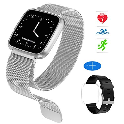 HuaWise Fitness Tracker,Activity Tracker with Heart Rate Monitor and Sleep Monitor,Metal Band Waterproof Color Screen,Step Counter Pedometer and Calorie Counter for Women Men Kids