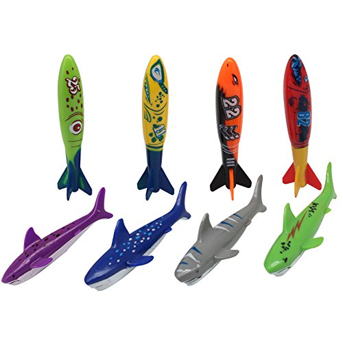 Fajiabao Diving Toys for Swimming Pool Gliding Shark Throwing Torpedo Rockets Underwater Colorful Rubber Dive Gems Summer Toys for Kids Boys Girls Teens Adults, 8 -