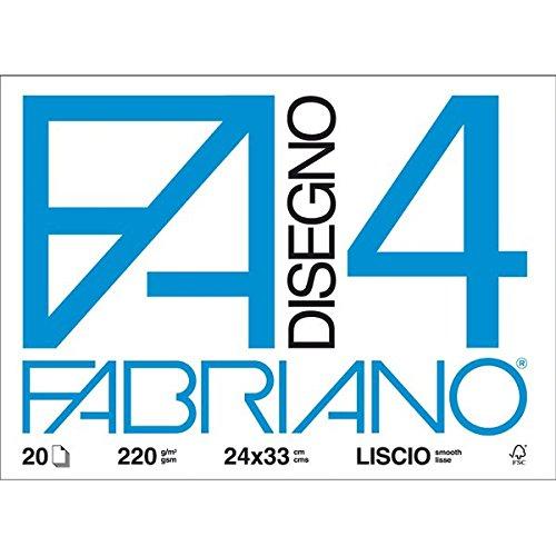 Fabriano-05200597-Disegno-4-Liscio-24-x-33-cm-220-GMq-20-Fogli