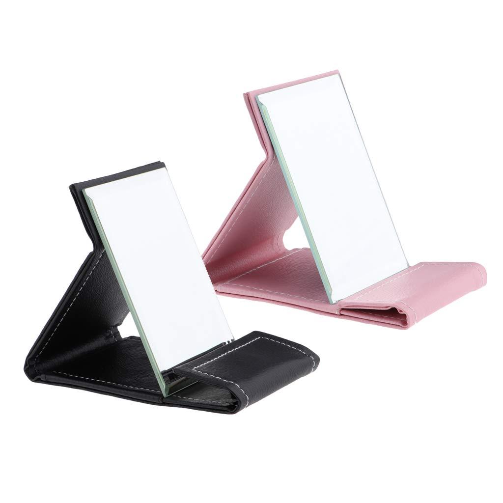Rosa B Blesiya Premium PU-Leder Faltbar Make-up Spiegel Kosmetikspiegel Schminkspiegel Rasierspiegel f/ür Home Beauty Verbesserung