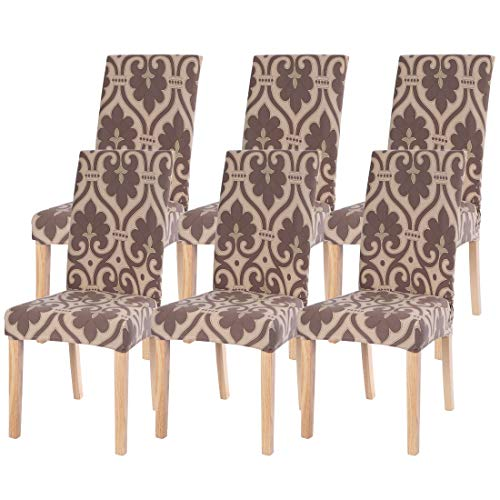 SearchI 6 Pack Fit Stretch Removable Washable Short Dining Chair Covers Slipcover Protector, Spandex Fabric Chair Cover for Dining Room, Hotel, Ceremony (Brown, 6 per Set) (Best Fabric To Reupholster Chair)
