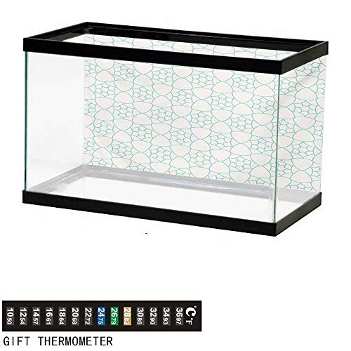 wwwhsl Aquarium Background,Ivory and Blue,Monochrome Stars and Lattice Design Inspired Pattern Floral Shapes,Pale Blue and Ivory Fish Tank Backdrop 60