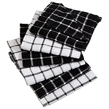 DII 100% Cotton, Machine Washable, Basic Everyday Kitchen Dish Cloth, Windowpane Design, 12 x 12  Set of 6- Black
