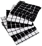 DII Cotton Terry Windowpane Dish Cloths, 12 x 12' Set of 6, Machine Washable and Ultra Absorbent Kitchen Bar Towels-Black
