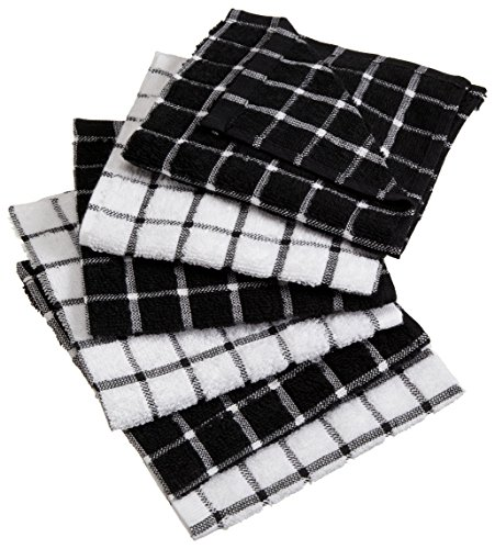 DII Cotton Terry Windowpane Dish Cloths, 12 x 12