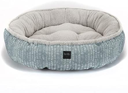 Home Dynamix Nicole Miller Comfy Pooch Pet Bed, 30 Inch Round, Teal Abstract