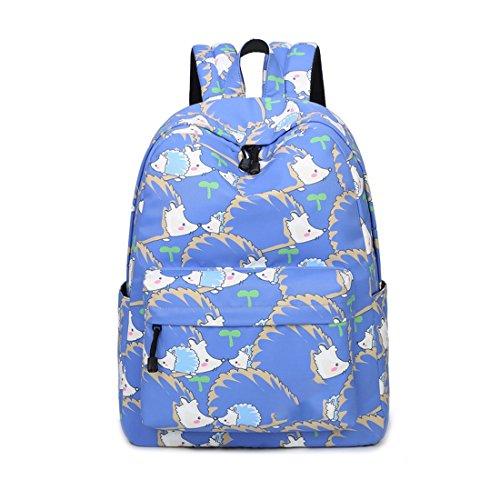 Girl Hedgehog - Joymoze Retro Colorful Print Trendy Backpack for Women Cute Schoolbag for Girl Hedgehog