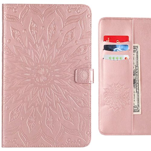 for inch For Case 9 Wallet E TPU with T561 Bumper Samsung Flip Samsung Stand Inner Premium 6 Tap Protective Tap Cover Galaxy 9 Case Soft Blooming Purple Rose Gold Ougger 6