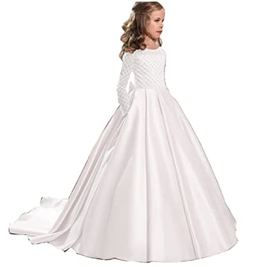 Amazon.com: Hengyud Lace Flower Girl Dresses Long Sleeves First ...