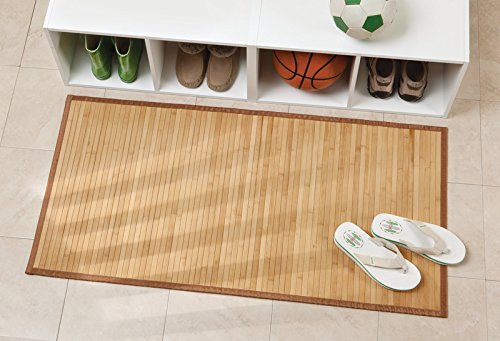 mDesign Water-Resistant Bamboo Floor Mat for Bathroom - Pack of 2, Large, Natural